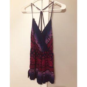 Pants - Purple and Magenta printed romper